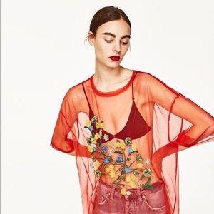 Zara orange mesh embroidered top